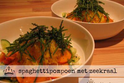 spaghetti pompoen met zeekraal