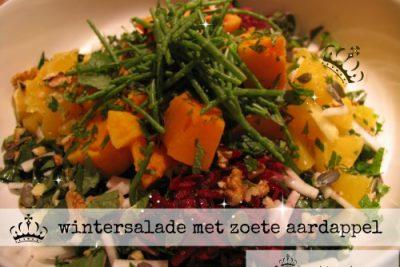 wintersalade met zoete aardappel