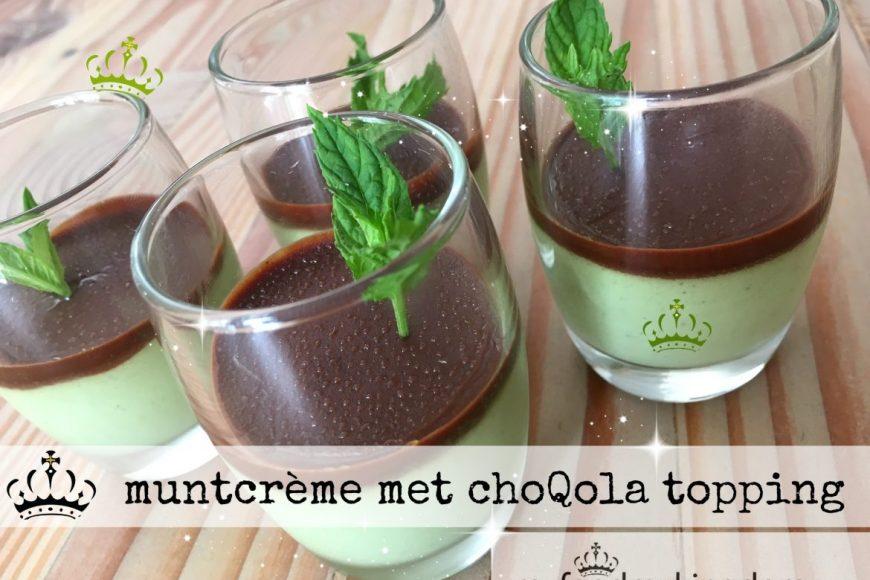 muntcrème met choQola topping