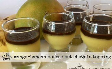 mango banaan mousse met choQola topping